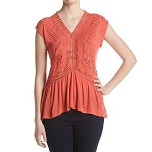Relativity Piece Peplum Top Coral Blouse Shirt